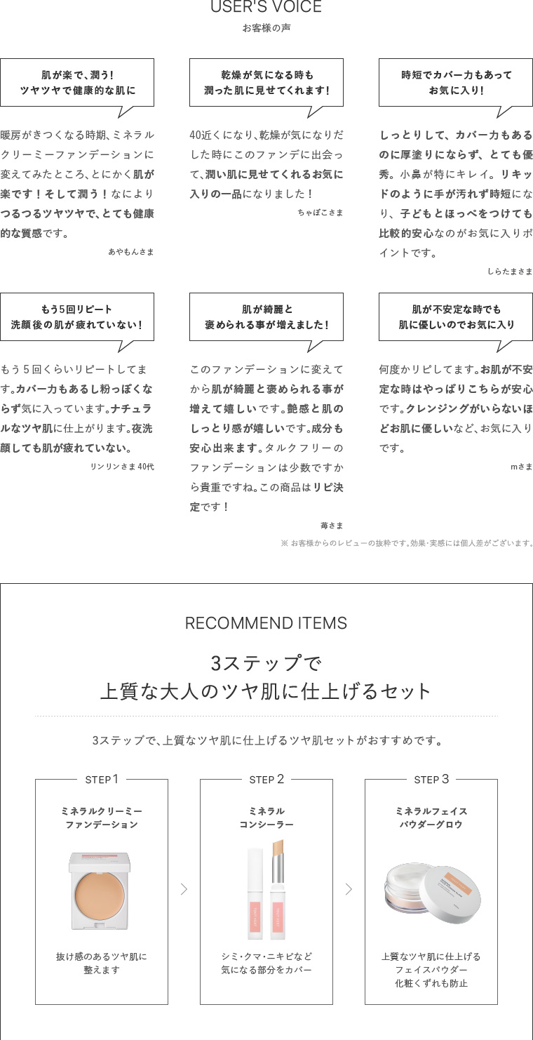 USER'S VOICE、RECOMMEND ITEMS